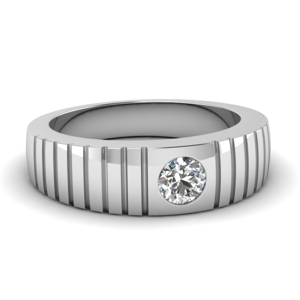 beacf6cb5af63 Solitaire Diamond Wide Band For Men In 14K White Gold | Fascinating ...
