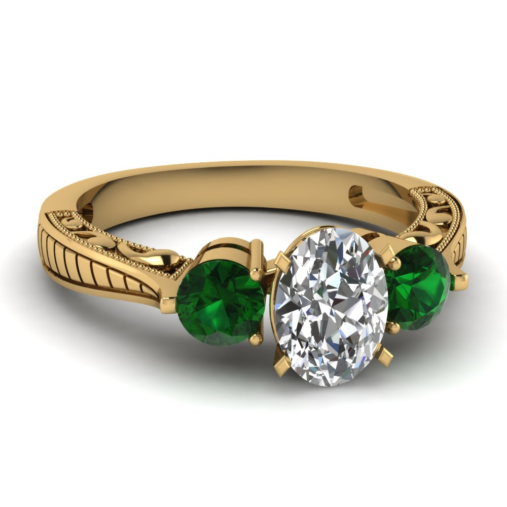 Affordable Three Stone Green Emerald Engagement Rings ... - photo#46